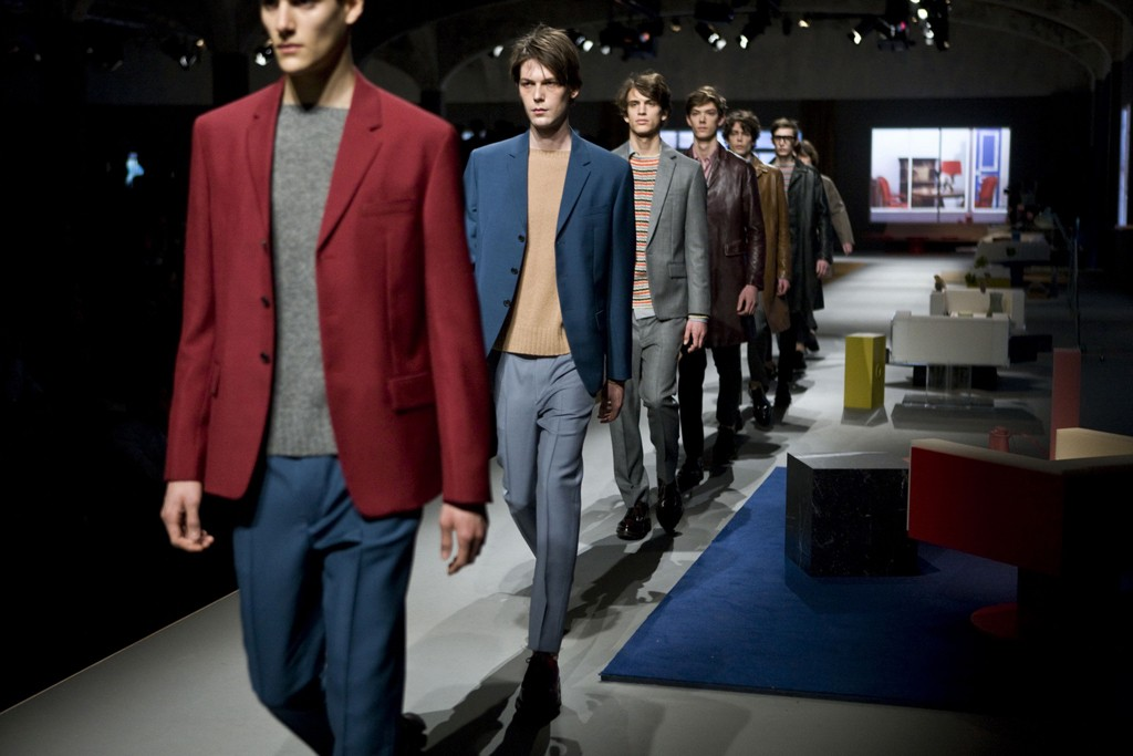 """Prada's catwalk was set up to resemble """"the perfect house."""""""