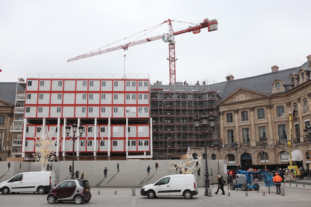 Restorations underway have transformed Le Ritz Paris façade.