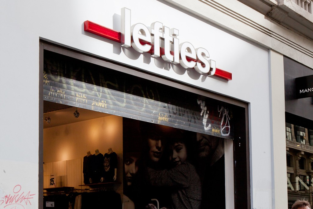 Exterior of Lefties store in Madrid, Spain.