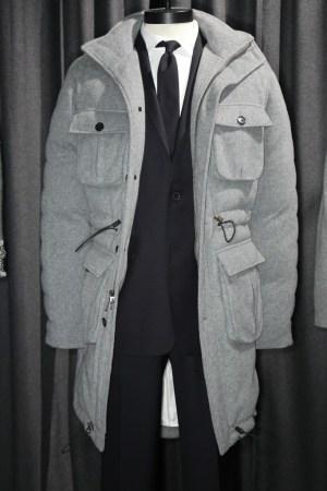 A Black Fleece toggle coat.