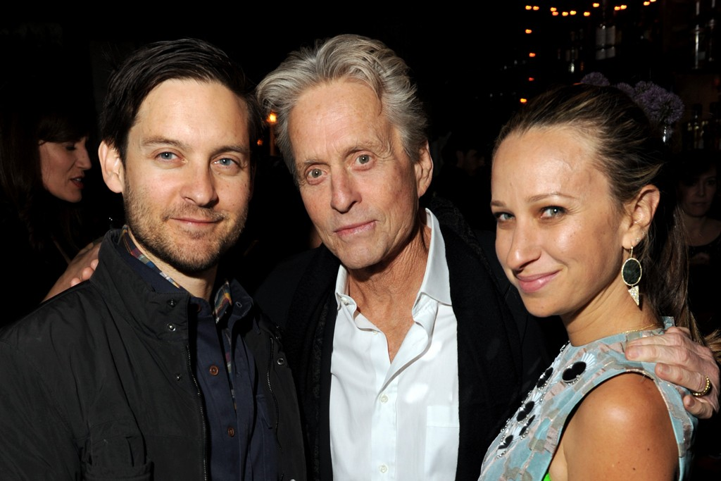 Tobey Maguire, Michael Douglas and Jennifer Meyer Maguire in Diane von Furstenberg.