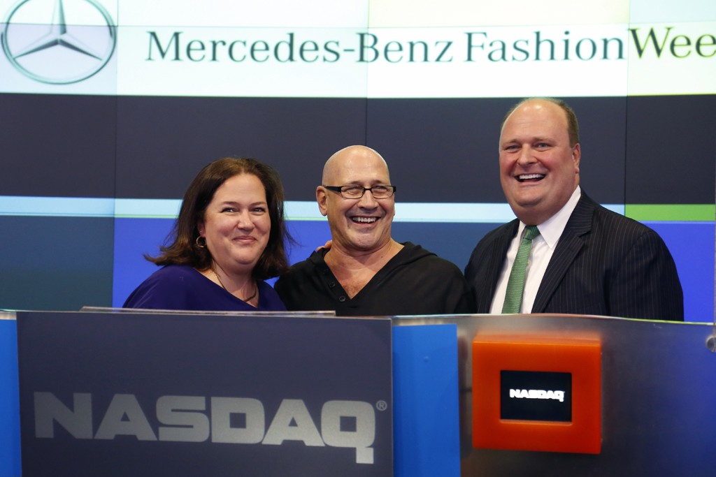 Carmen Marc Valvo, Christina Neault and David Wicks at NASDAQ Tuesday.