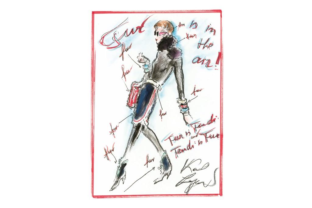 Sketch by Karl Lagerfeld for Fendi.