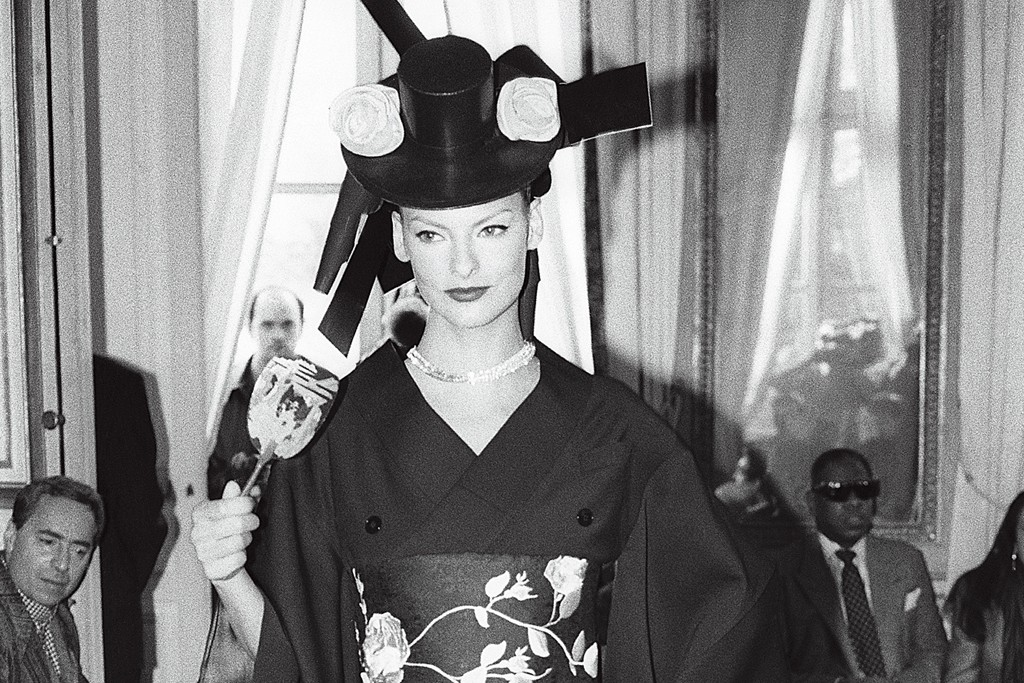 A look from John Galliano's signature collection for fall 1994.