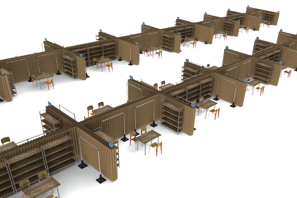 A rendering of the fair's booths.