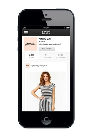 A sample page from the iPhone app for Lyst.com