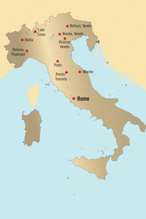 Various production hubs in Italy.