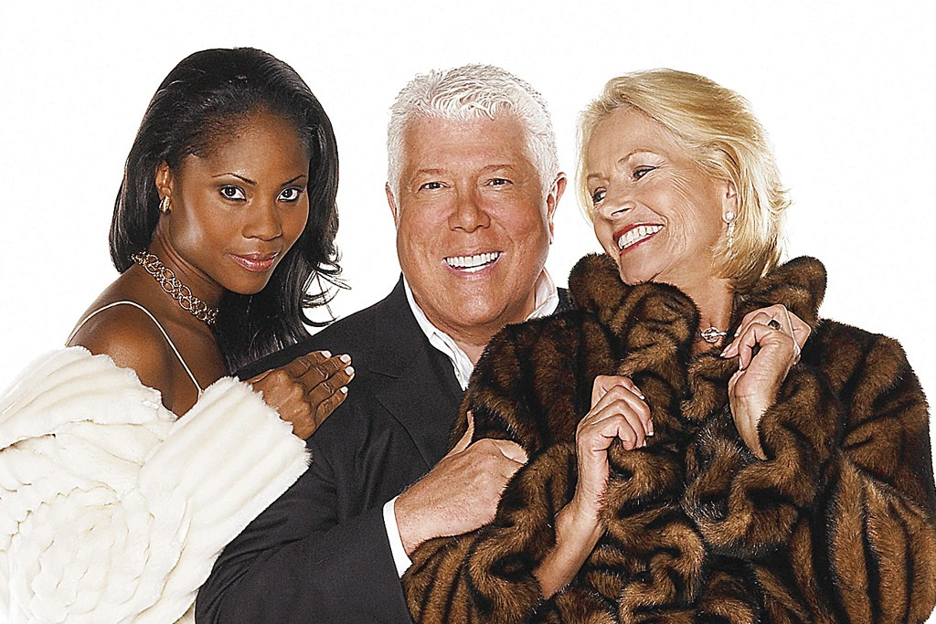 Dennis Basso with models wearing fake fur coats from the QVC line retailing for about $169.