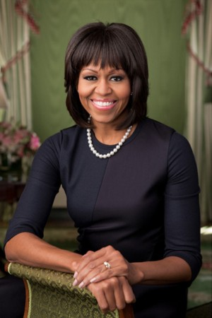 First Lady Michelle Obama wearing Reed Krakoff in her 2013 White House portrait.