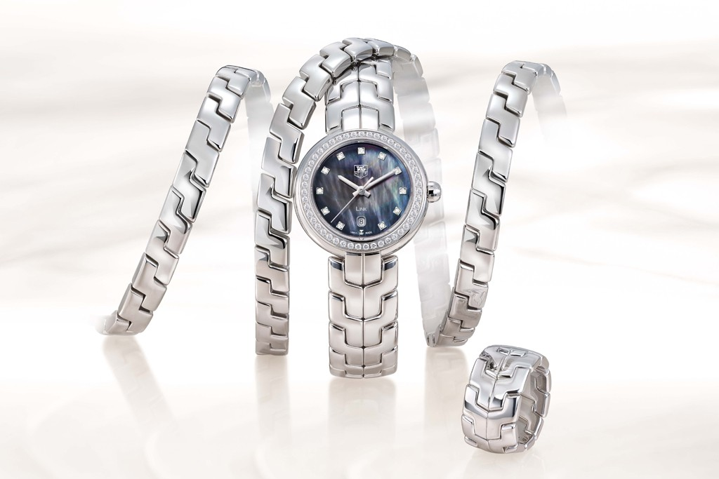 Steel-link Trilogy mood set for women, from the Tag Heuer site.