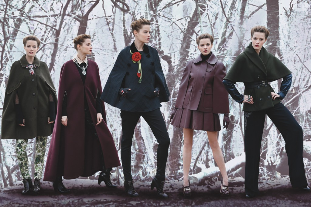 From left: Raoul's wool and suede cape; Yigal Azrouël's wool and cashmere cape; Red Valentino's stretch wool jacquard and velvet cape; Mulberry's leather cape; Etienne Aigner's wool cape