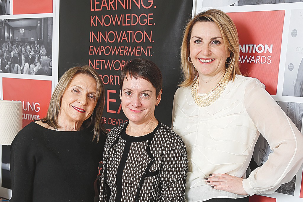 Carlotta Jacobson, CEW Foundation executive director Kate Sweeney and Claudia Lucas.