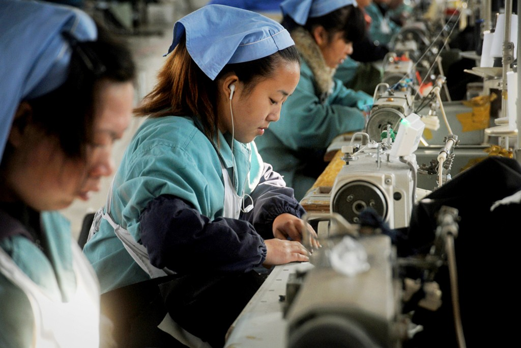 Workers at a clothing factory in China.