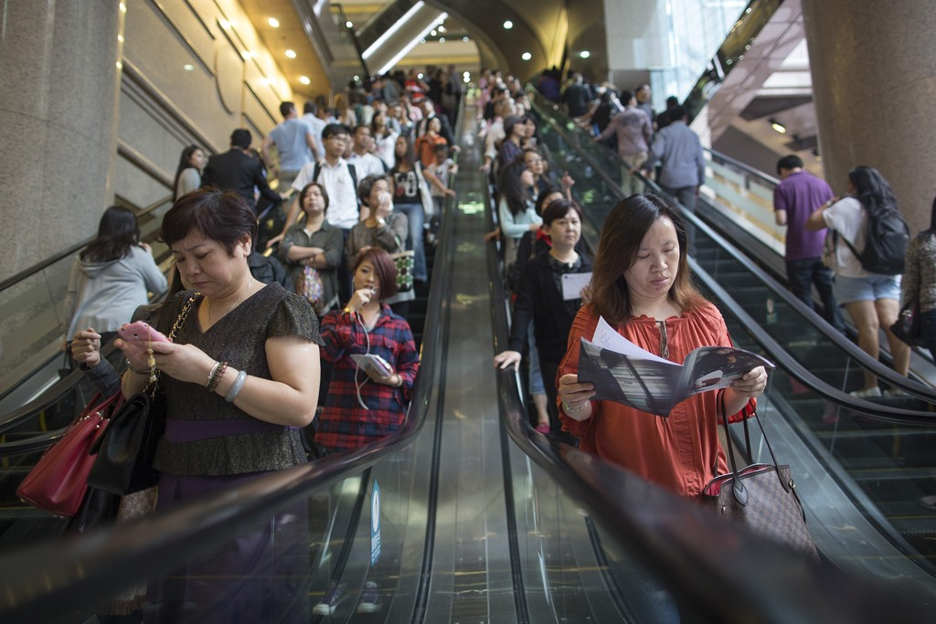 The crowd at Times Square shopping mall in Hong Kong.