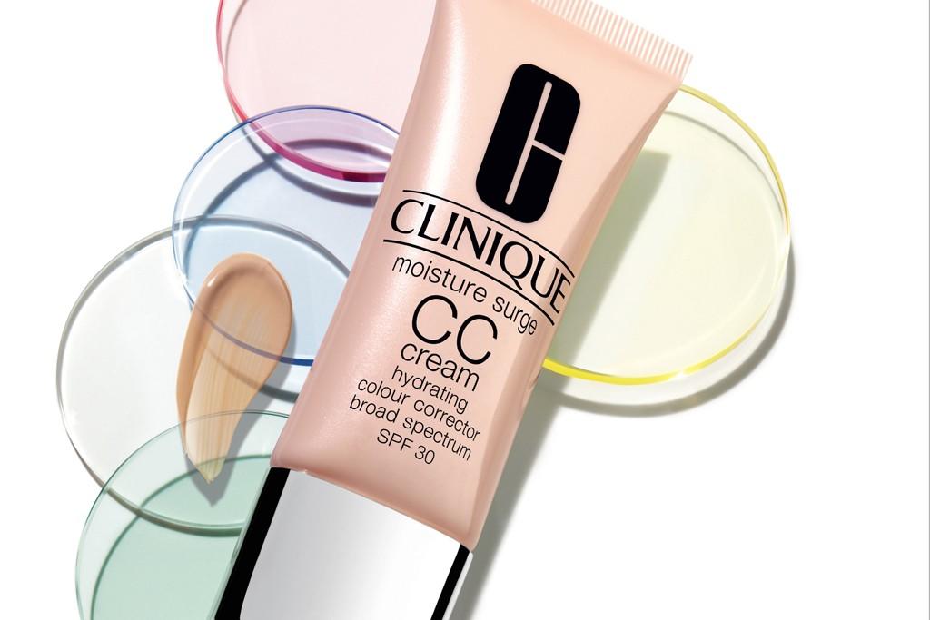An ad for Clinique's Moisture Surge CC Cream.
