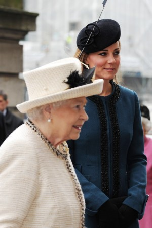 Queen Elizabeth II, arrives at Baker Street Underground station in London with the Duchess of Cambridge.