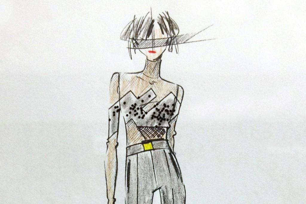 A sketch of an Akris design for Alicia Keys.