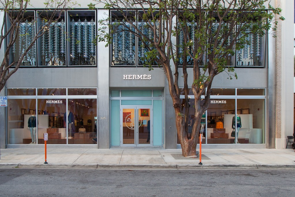 The exterior of the Hermès store in Miami.