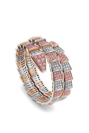 Jeweled coil bracelet by Bulgari.