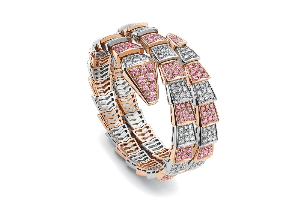 Jeweled coil bracelet by Bulgari.