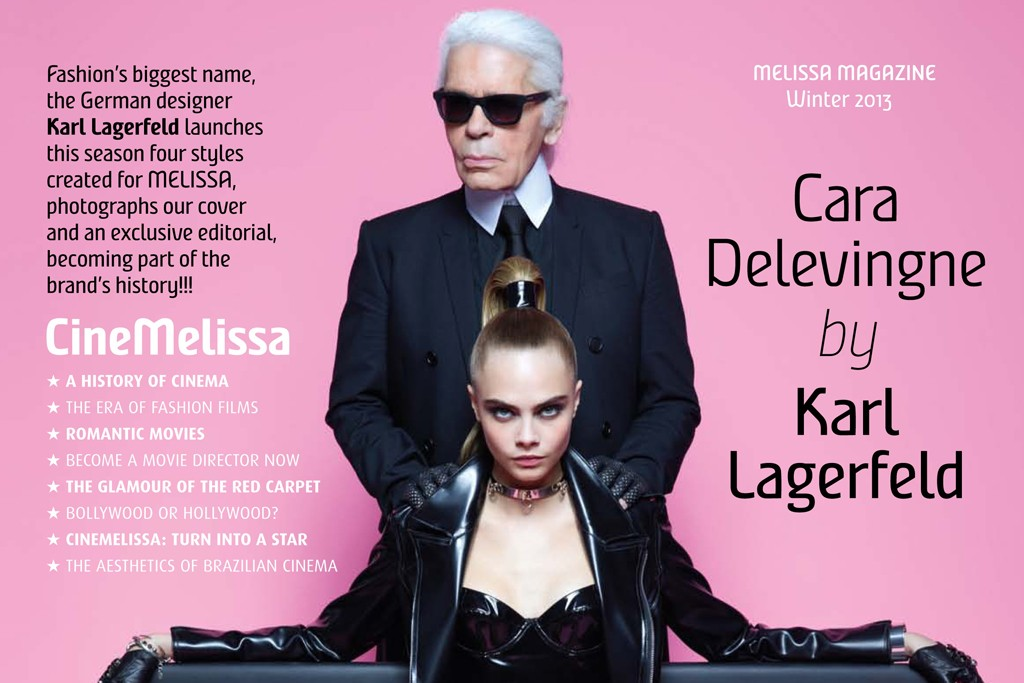 Karl Lagerfeld and Cara Delevingne on the cover of Plastic Dreams, the in-house magazine of Melissa.