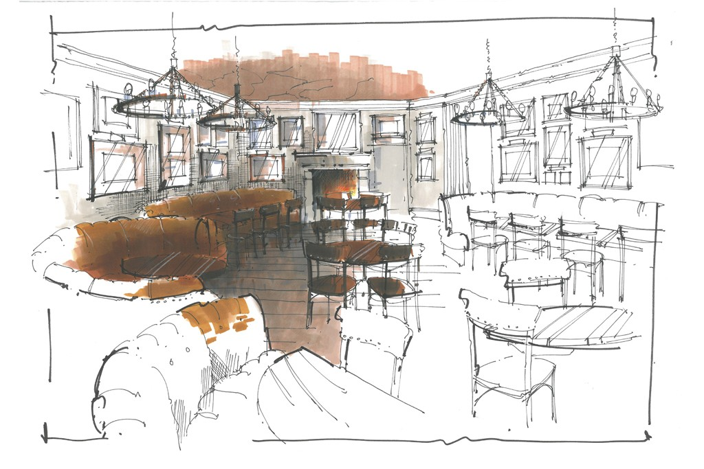 A rendering of the main dining room at Red House.