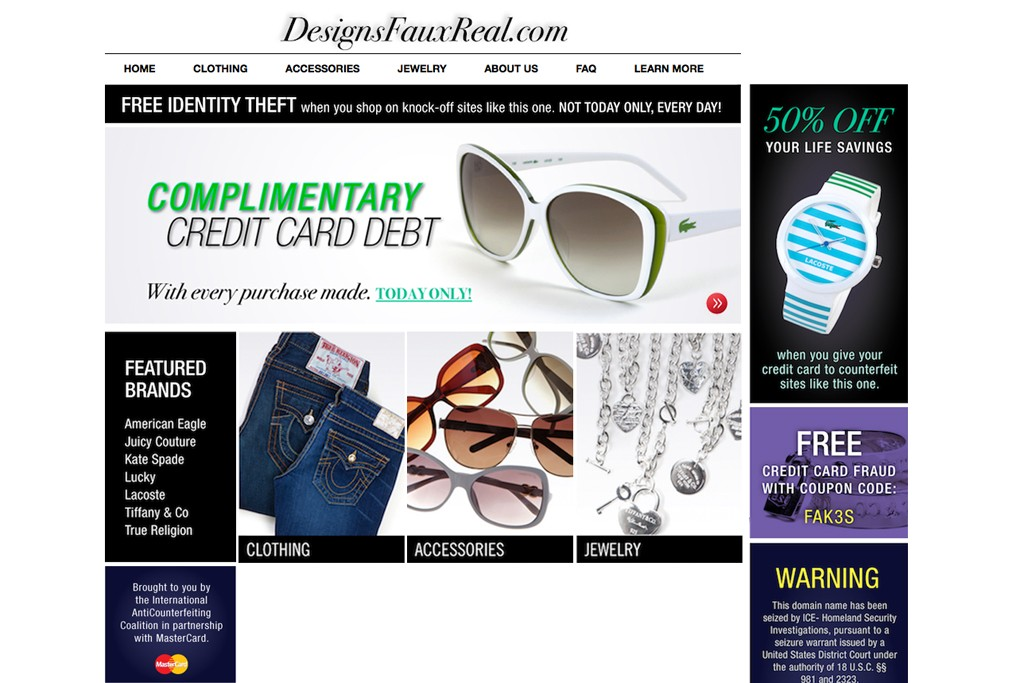 The DesignsFauxReal.com home page.