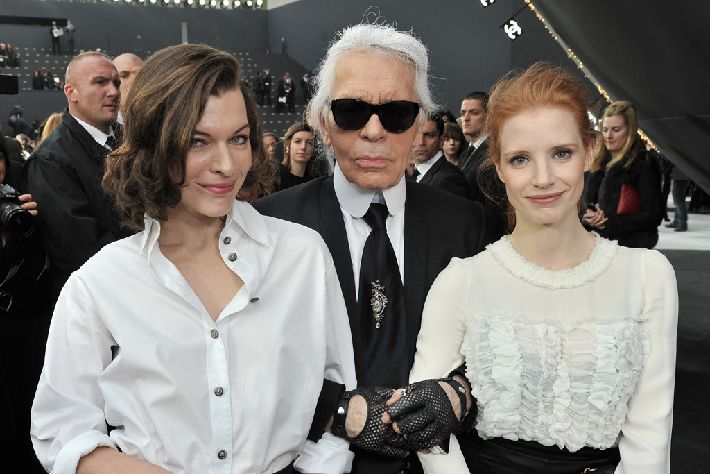 Milla Jovovich, Karl Lagerfeld and Jessica Chastain