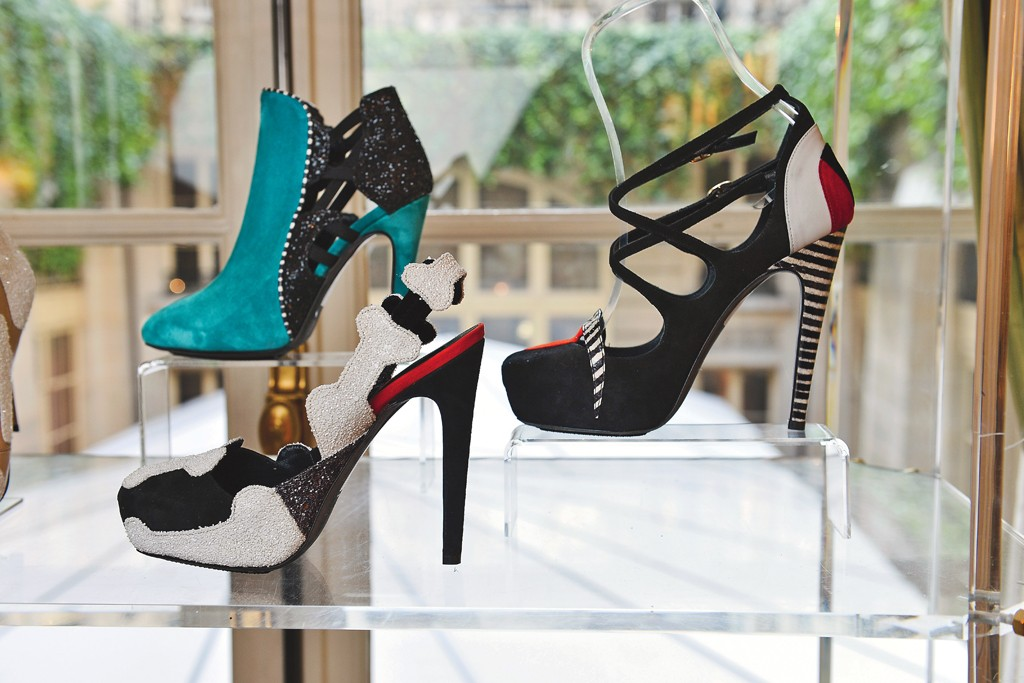 Alessandra Lanvin of Aperlai used a bone motif for graphic and colorful shoes.
