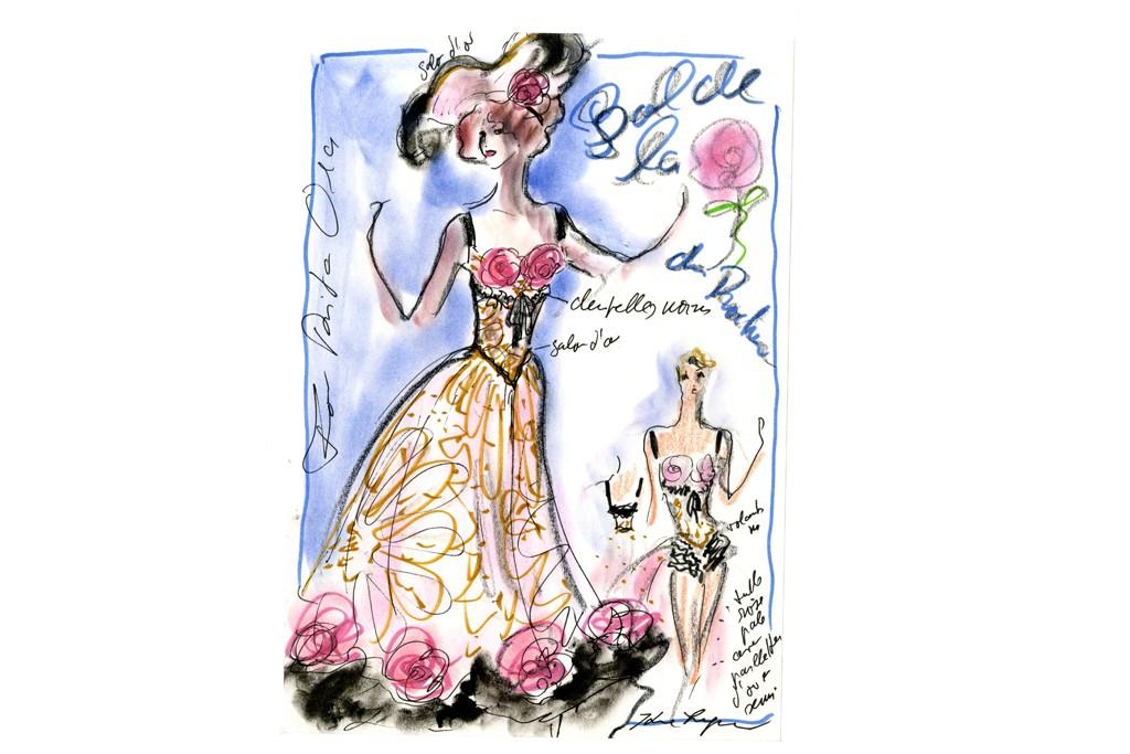 A sketch of a Karl Lagerfeld design for Rita Ora.