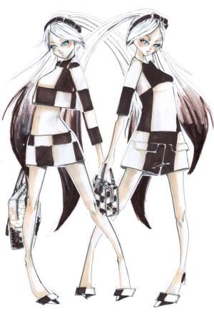 A sketch of Hatsune Miku in Louis Vuitton