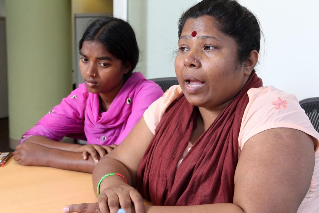 Sumi Abedin, a survivor of the Tazreen fire, and Bangladeshi labor leader Kalpona Akter.