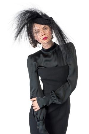 "Piers Atkinson's ""Zarrella"" felt beret with burnt peacock fringe."