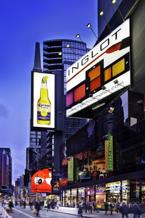 A mock up of the new Inglot digital ad in Times Square.