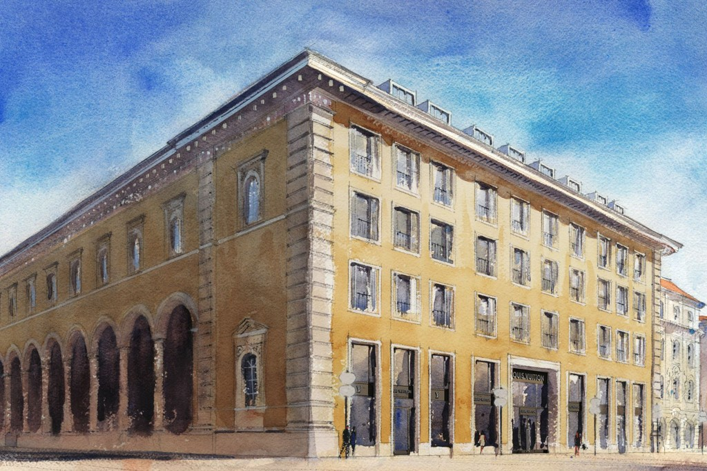 A rendering of the exterior of the Louis Vuitton flagship in Munich.
