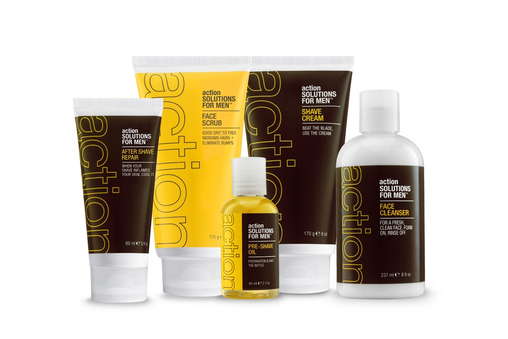Action skincare products for men.