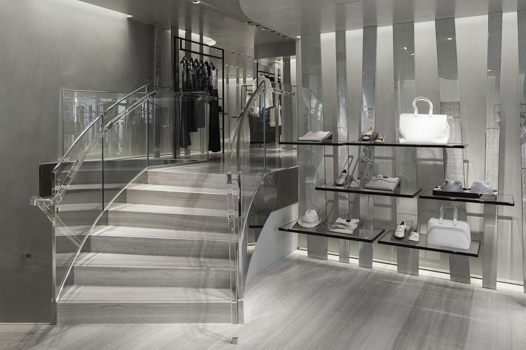 A view of the women's accessories area in the Giorgio Armani Cannes boutique.