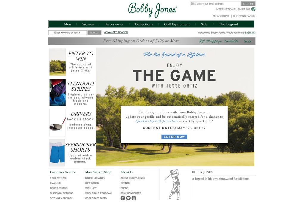 The homepage for Bobby Jones golfwear.