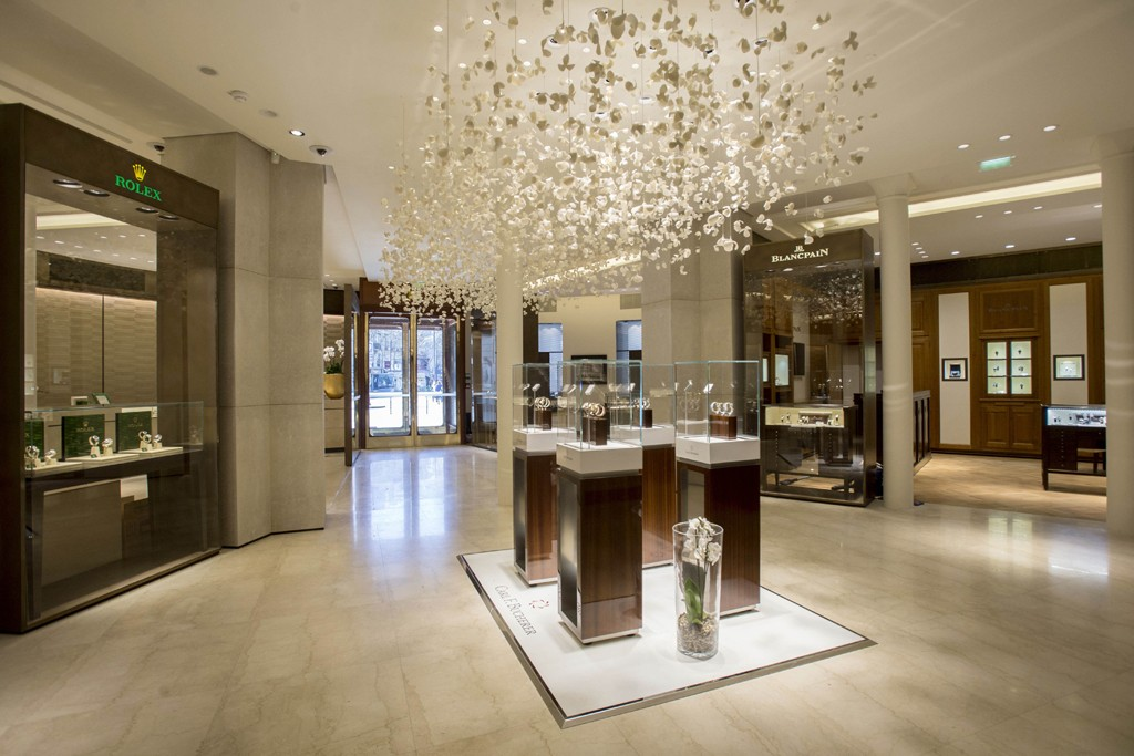 The interior of the Bucherer store in Paris.