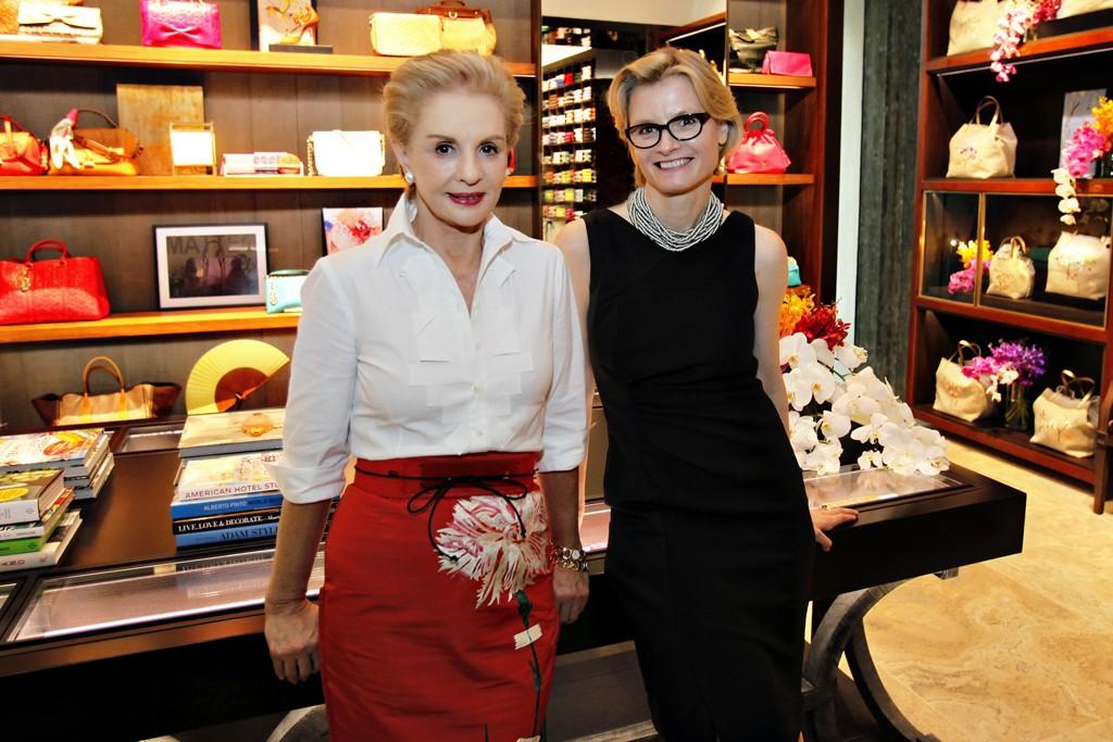 Carolina Herrera and Caroline Brown at their boutique in Singapore.