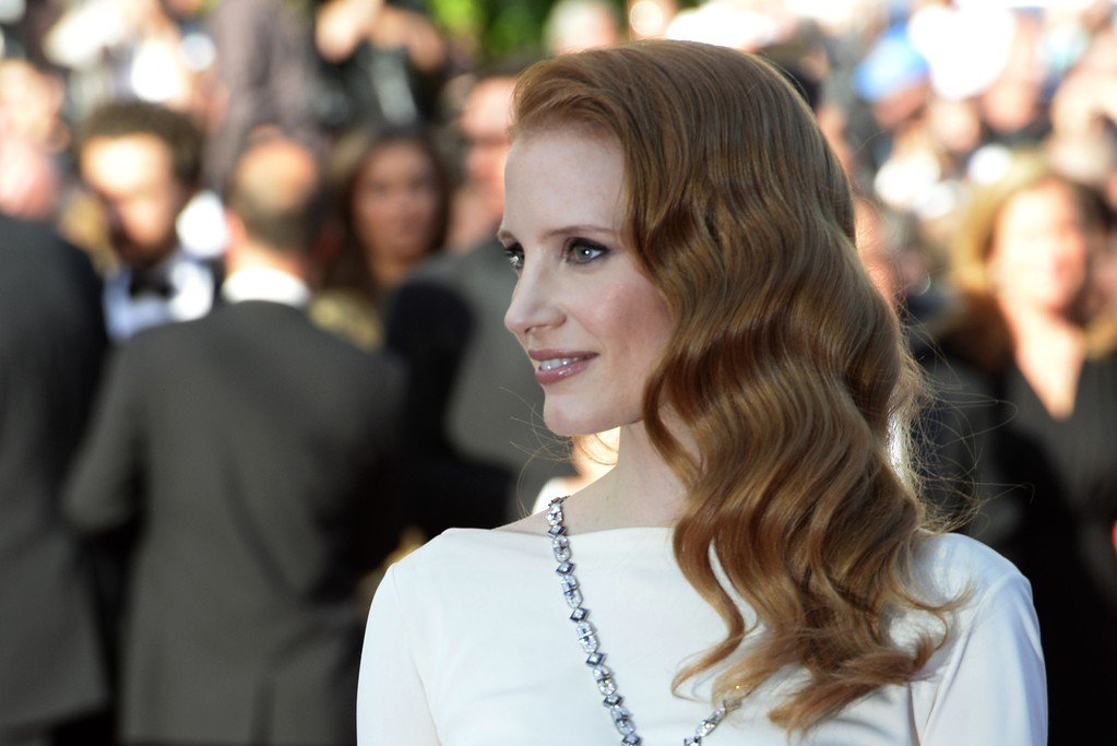 """Jessica Chastain at the world premiere of the restored version of """"Cleopatra"""" in Cannes."""