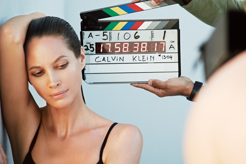 Christy Turlington Burns shoots the fall advertising campaign for Calvin Klein Underwear.