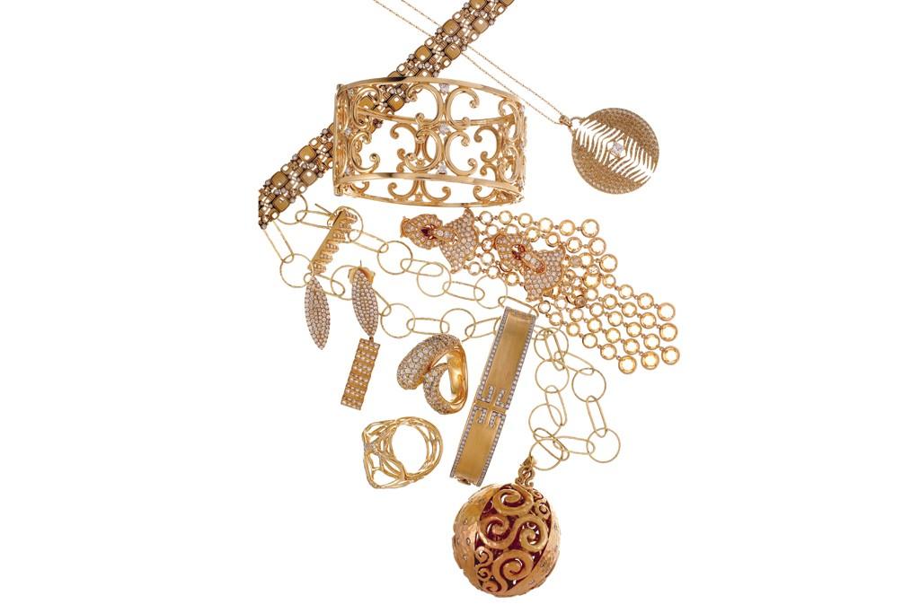 Clockwise from left: Alex Sepkus' bracelet; Mizuki necklace; Monica Rich Kosann bracelet; Marina B earrings; Pamela Froman necklace; Ippolita ring; Ivanka Trump bracelet; Faraone Mennella ring; Suel earrings