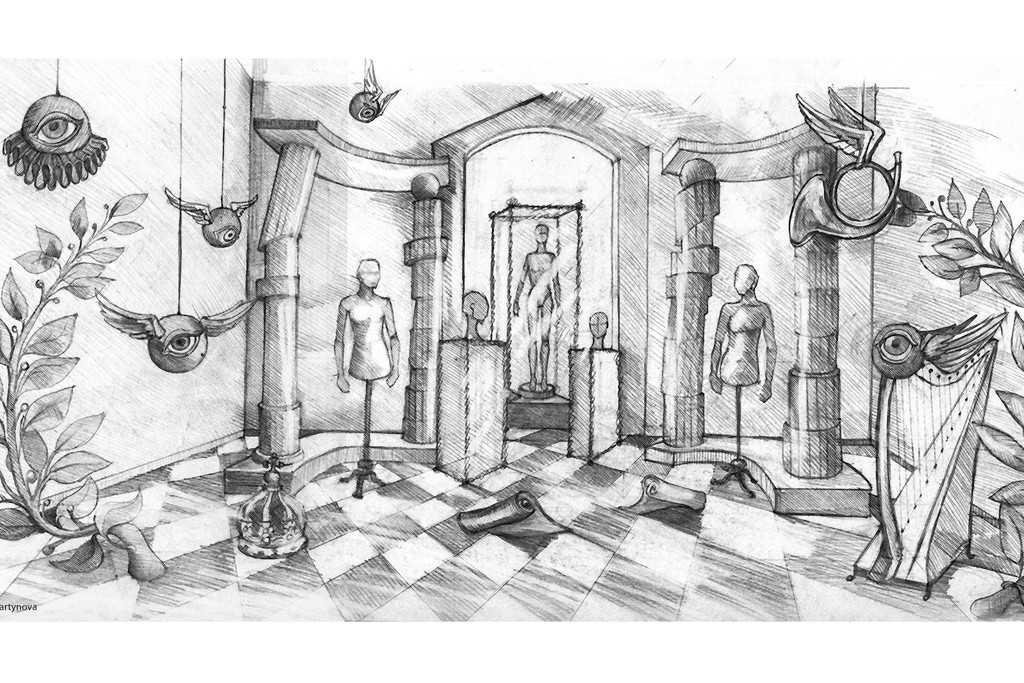 """An illustration of the décor at the """"A Queen Within: Adorned Archetypes, Fashion & Chess"""" exhibition."""
