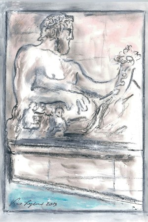 A sketch of a Roman fountain by Karl Lagerfeld.
