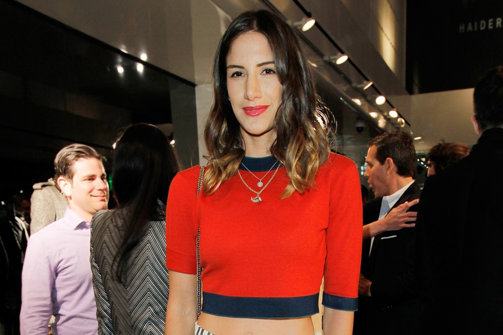 Minnie Mortimer in a Patrik Ervell top and Suno skirt.