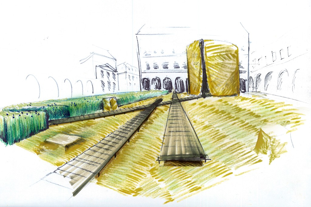 """A rendering of the """"Linen Incredible! Flax in the City"""" exhibition."""