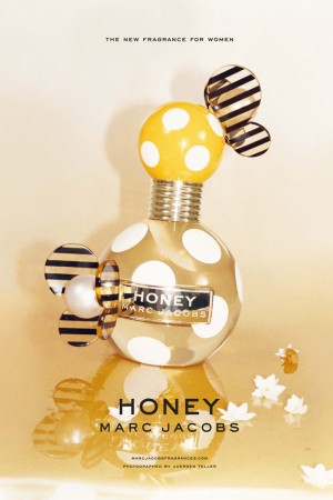An ad for Marc Jacobs' Honey fragrance.