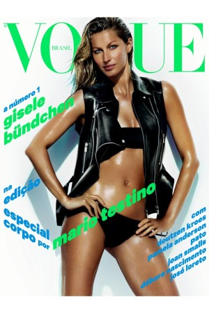 Gisele Bündchen on the cover of Brazilian Vogue (shot by Mario Testino).