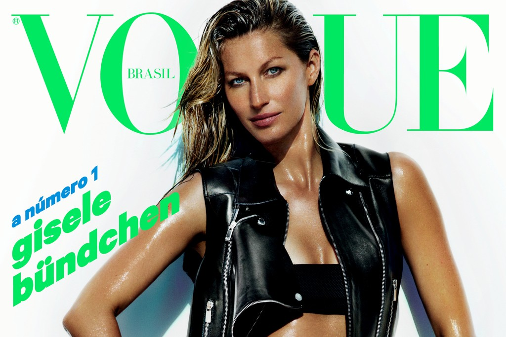 Gisele Bündchen on the cover of Brazilian Vogue (shot by Mario Testino).